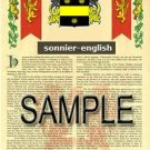 SONNIER - ENGLISH - Armorial Name History - Coat of Arms - Family Crest GIFT! 8.5x11