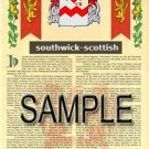 SOUTHWICK - SCOTTISH - Armorial Name History - Coat of Arms - Family Crest GIFT! 8.5x11