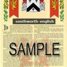 SOUTHWORTH - ENGLISH - Armorial Name History - Coat of Arms - Family Crest GIFT! 8.5x11