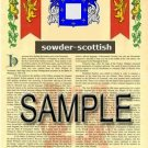 SOWDER - SCOTTISH - Armorial Name History - Coat of Arms - Family Crest GIFT! 8.5x11