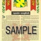 SPAIN - ENGLISH - Armorial Name History - Coat of Arms - Family Crest GIFT! 8.5x11