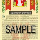 SPANGLER - GERMAN - Armorial Name History - Coat of Arms - Family Crest GIFT! 8.5x11
