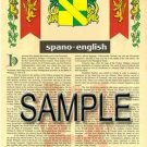 SPANO - ENGLISH - Armorial Name History - Coat of Arms - Family Crest GIFT! 8.5x11