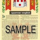 SPARROW - ENGLISH - Armorial Name History - Coat of Arms - Family Crest GIFT! 8.5x11
