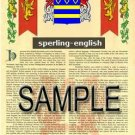 SPERLING - ENGLISH - Armorial Name History - Coat of Arms - Family Crest GIFT! 8.5x11