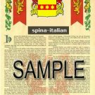 SPINA - ITALIAN - Armorial Name History - Coat of Arms - Family Crest GIFT! 8.5x11