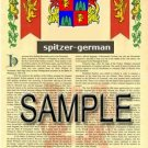 SPITZER - GERMAN - Armorial Name History - Coat of Arms - Family Crest GIFT! 8.5x11