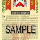 SPOTTS - ENGLISH - Armorial Name History - Coat of Arms - Family Crest GIFT! 8.5x11