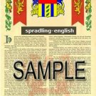 SPRADLING - ENGLISH - Armorial Name History - Coat of Arms - Family Crest GIFT! 8.5x11