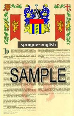 SPRAGUE - ENGLISH - Armorial Name History - Coat of Arms - Family Crest GIFT! 8.5x11