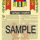 SPRIGGS - ENGLISH - Armorial Name History - Coat of Arms - Family Crest GIFT! 8.5x11
