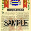 SPURLOCK - ENGLISH - Armorial Name History - Coat of Arms - Family Crest GIFT! 8.5x11