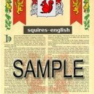 SQUIRES - ENGLISH - Armorial Name History - Coat of Arms - Family Crest GIFT! 8.5x11