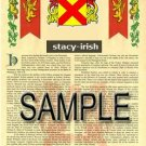 STACY - IRISH - Armorial Name History - Coat of Arms - Family Crest GIFT! 8.5x11
