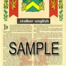 STALKER - ENGLISH - Armorial Name History - Coat of Arms - Family Crest GIFT! 8.5x11