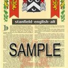 STANFIELD - ENGLISHALT - Armorial Name History - Coat of Arms - Family Crest GIFT! 8.5x11