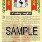 STARKEY - ENGLISH - Armorial Name History - Coat of Arms - Family Crest GIFT! 8.5x11