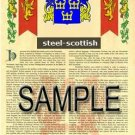 STEEL - SCOTTISH - Armorial Name History - Coat of Arms - Family Crest GIFT! 8.5x11