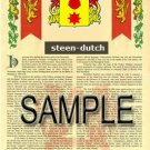 STEEN - DUTCH - Armorial Name History - Coat of Arms - Family Crest GIFT! 8.5x11