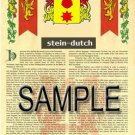 STEIN - DUTCH - Armorial Name History - Coat of Arms - Family Crest GIFT! 8.5x11