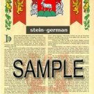 STEIN - GERMAN - Armorial Name History - Coat of Arms - Family Crest GIFT! 8.5x11