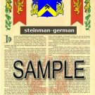 STEINMAN - GERMAN - Armorial Name History - Coat of Arms - Family Crest GIFT! 8.5x11