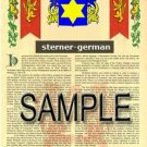 STERNER - GERMAN - Armorial Name History - Coat of Arms - Family Crest GIFT! 8.5x11