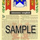 STEVENS - ENGLISH - Armorial Name History - Coat of Arms - Family Crest GIFT! 8.5x11