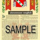 STEVENSON - ENGLISH - Armorial Name History - Coat of Arms - Family Crest GIFT! 8.5x11
