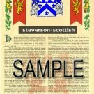 STEVERSON - SCOTTISH - Armorial Name History - Coat of Arms - Family Crest GIFT! 8.5x11