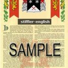 STIFFLER - ENGLISH - Armorial Name History - Coat of Arms - Family Crest GIFT! 8.5x11