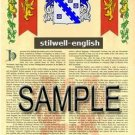 STILWELL - ENGLISH - Armorial Name History - Coat of Arms - Family Crest GIFT! 8.5x11