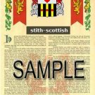 STITH - SCOTTISH - Armorial Name History - Coat of Arms - Family Crest GIFT! 8.5x11