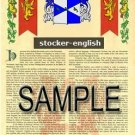 STOCKER - ENGLISH - Armorial Name History - Coat of Arms - Family Crest GIFT! 8.5x11