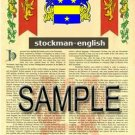 STOCKMAN - ENGLISH - Armorial Name History - Coat of Arms - Family Crest GIFT! 8.5x11