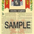 STOCKS - ENGLISH - Armorial Name History - Coat of Arms - Family Crest GIFT! 8.5x11