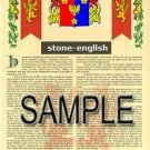 STONE - ENGLISH - Armorial Name History - Coat of Arms - Family Crest GIFT! 8.5x11