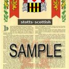 STOTTS - SCOTTISH - Armorial Name History - Coat of Arms - Family Crest GIFT! 8.5x11