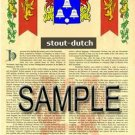 STOUT - DUTCH - Armorial Name History - Coat of Arms - Family Crest GIFT! 8.5x11