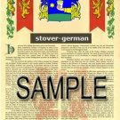STOVER - GERMAN - Armorial Name History - Coat of Arms - Family Crest GIFT! 8.5x11
