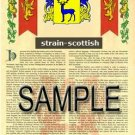 STRAIN - SCOTTISH - Armorial Name History - Coat of Arms - Family Crest GIFT! 8.5x11