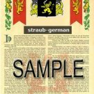 STRAUB - GERMAN - Armorial Name History - Coat of Arms - Family Crest GIFT! 8.5x11