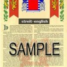 STREIT - ENGLISH - Armorial Name History - Coat of Arms - Family Crest GIFT! 8.5x11