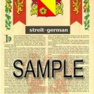 STREIT - GERMAN - Armorial Name History - Coat of Arms - Family Crest GIFT! 8.5x11