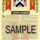 STROH - ENGLISH - Armorial Name History - Coat of Arms - Family Crest GIFT! 8.5x11