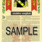 STUBBS - ENGLISH - Armorial Name History - Coat of Arms - Family Crest GIFT! 8.5x11