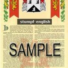 STUMPF - ENGLISH - Armorial Name History - Coat of Arms - Family Crest GIFT! 8.5x11
