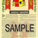SUAREZ - SPANISH - Armorial Name History - Coat of Arms - Family Crest GIFT! 8.5x11