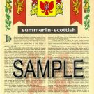 SUMMERLIN - SCOTTISH - Armorial Name History - Coat of Arms - Family Crest GIFT! 8.5x11