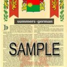 SUMMERS - GERMAN - Armorial Name History - Coat of Arms - Family Crest GIFT! 8.5x11